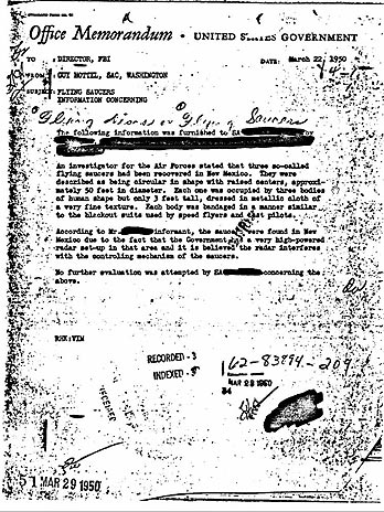 Documento oficial do FBI cita captura de Extraterrestres em Roswell